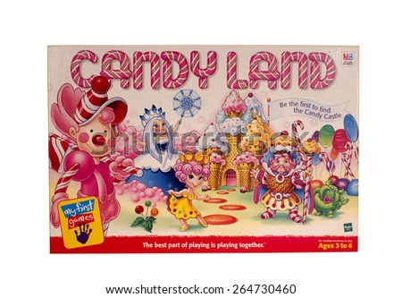 RIVER FALLS,WISCONSIN-MARCH 28,2015: A vintage Candy Land game box distributed by Milton Bradley.