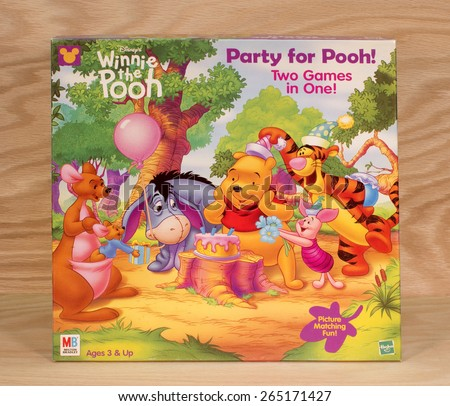 RIVER FALLS,WISCONSIN-MARCH 30,2015: A Winnie the Pooh Party game box by Milton Bradley.