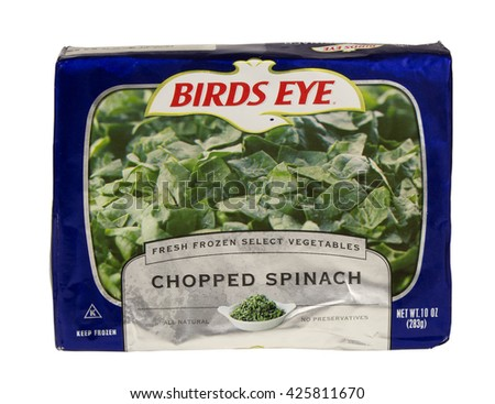 RIVER FALLS,WISCONSIN-MAY 24,2016: A bag of frozen chopped spinach by Birds Eye. - stock photo