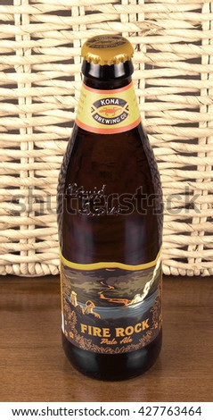 RIVER FALLS,WISCONSIN-MAY 28,2016: A bottle of Fire Rock pale ale by Kona Brewing Company. - stock photo