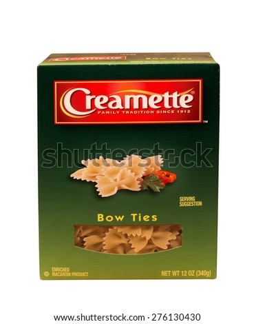 RIVER FALLS,WISCONSIN-MAY 08,2015: A box of Creamette brand Bow Ties pasta. The Creamette brand is owned by New World Pasta Company. - stock photo