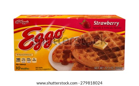 RIVER FALLS,WISCONSIN-MAY19,2015: A box of Eggo Strawberry waffles. Eggo products are distributed by Kelloggs of Battle Creek,Michigan. - stock photo