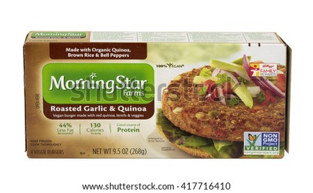RIVER FALLS,WISCONSIN-MAY 09,2016: A box of Morning Star Farms brand Garlic and Quinoa Vegan burgers. - stock photo