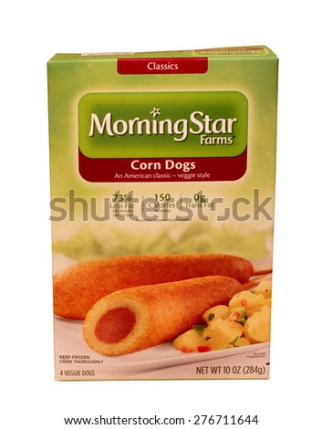 RIVER FALLS,WISCONSIN-MAY10,2015: A box of Morningstar Farms brand Corn Dogs. Morningstar Farms is a division of the Kellogg Company - stock photo