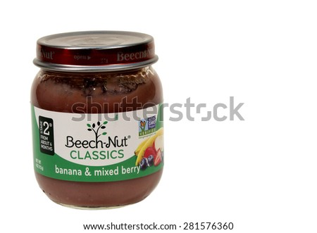 RIVER FALLS,WISCONSIN-MAY26,2015: A jar of Beech-Nut banana and mixed berry baby food. This product is distributed by Beech-Nut Nutrition Corporation. - stock photo