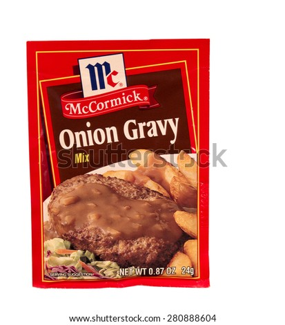 RIVER FALLS,WISCONSIN-MAY 24,2015: A packet of McCormick brand Onion Gravy mix. McCormick and Company is headquartered in Sparks,Maryland. - stock photo