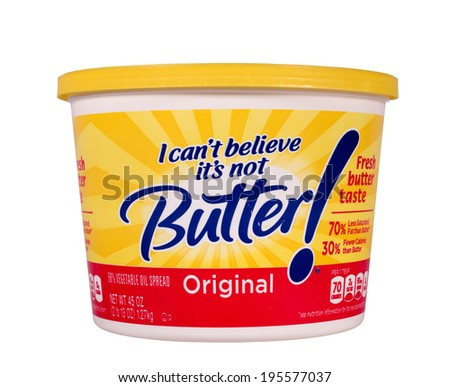 RIVER FALLS,WISCONSIN-MAY 29, 2014: A tub of I Can't Believe It's Not Butter. This product is distributed by Unilever of Englewood Cliffs,New Jersey.