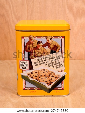 RIVER FALLS,WISCONSIN-MAY 01,2015: A vintage Nestles Toll House cookie tin. This tin was originally made around Nineteen Forty Two. - stock photo