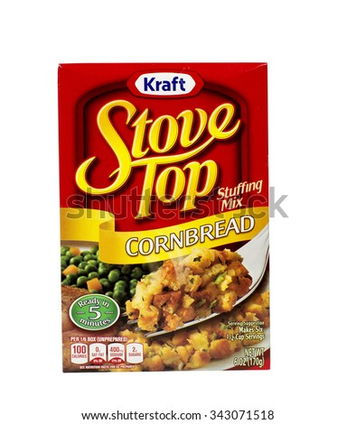 RIVER FALLS,WISCONSIN-NOVEMBER 05,2015: A box of Kraft brand Cornbread stuffing mix. Kraft is an official sponsor of both Major League Soccer and the National Hockey League. - stock photo
