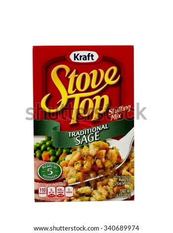 RIVER FALLS,WISCONSIN-NOVEMBER 05,2015: A box of Kraft brand Sage flavored stuffing mix. Kraft is an official sponsor of both Major League Soccer and the National Hockey League. - stock photo