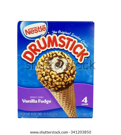 RIVER FALLS,WISCONSIN-NOVEMBER 19,2015: A box of Nestles Drumstick ice cream cones. Nestles is headquartered in Switzerland. - stock photo
