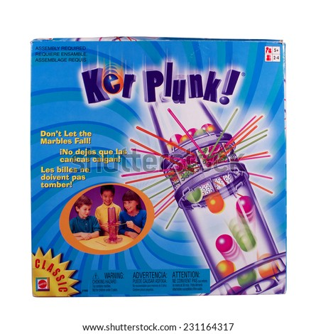 RIVER FALLS,WISCONSIN-NOVEMBER 17,2014: A Kerplunk game by Mattel. Kerplunk was first sold in Nineteen Sixty Seven.