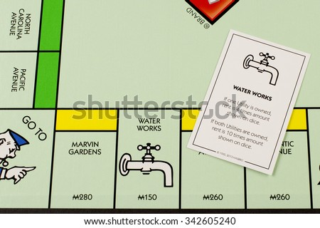 RIVER FALLS,WISCONSIN-NOVEMBER 11,2015: A Monopoly board featuring the Water Works card. Monopoly originated in the United States in Nineteen Hundred and Three. - stock photo