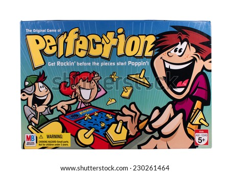 RIVER FALLS,WISCONSIN-NOVEMBER 13,2014: A Perfection board game by Milton Bradley. Perfection was first released in Nineteen Seventy Five.
