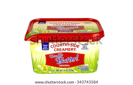 RIVER FALLS,WISCONSIN-NOVEMBER 25,2015: A tub of Countryside Creamery artificial butter. Artificial butter is made from vegetable oil. - stock photo