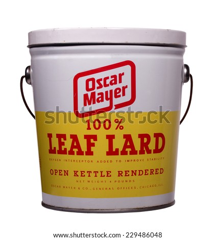 RIVER FALLS,WISCONSIN-NOVEMBER 10,2014: A vintage can of Oscar Mayer leaf lard. Leaf lard is the highest grade of lard used for cooking. - stock photo