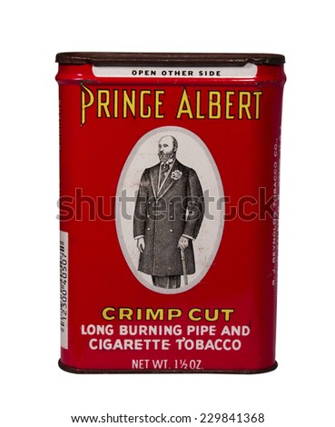 RIVER FALLS,WISCONSIN-NOVEMBER 11,2014: A vintage Prince Albert tobacco tin. Prince Albert was introduced by R.J.Reynolds Company in Nineteen Hundred and Seven. - stock photo