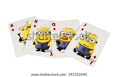 RIVER FALLS,WISCONSIN-NOVEMBER27,2015: The Minions cards in the diamonds suit. These characters are from the Despicable Me animated movie.