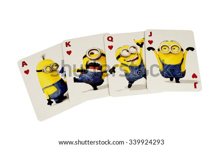 RIVER FALLS,WISCONSIN-NOVEMBER 16,2015: The Minions cards in the Hearts suit. These characters are from the Dispicable Me animated movie.