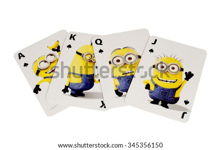 RIVER FALLS,WISCONSIN-NOVEMBER27,2015: The Minions cards in the spades suit. These characters are from the Despicable Me animated movie. - stock photo