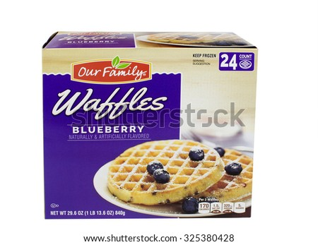 RIVER FALLS,WISCONSIN-OCTOBER 07,2015: A box of Our Family brand Blueberry frozen waffles. Blueberry is the mot popular flavor of frozen waffles. - stock photo