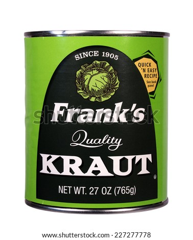 RIVER FALLS,WISCONSIN-OCTOBER 31,2014: A can of Frank's brand Sauerkraut. This product is distributed by The Fremont Company of Ohio. - stock photo