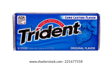 RIVER FALLS,WISCONSIN-OCTOBER 05,2014: A package of Trident sugar free gum with Xylitol. Trident was introduced in the United Kingdom in Nineteen Sixty. - stock photo