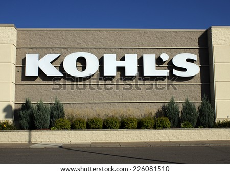 RIVER FALLS,WISCONSIN-OCTOBER 26,2014: Kohl's retail storefront. Kohl's is the second largest department store by sales in the United States. - stock photo