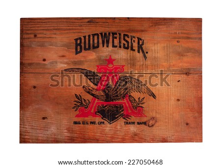 RIVER FALLS,WISCONSIN-OCTOBER 30,2014: Vintage wooden cover for a Budweiser beer case. Budweiser beer was introduced in Eighteen Seventy Six. - stock photo