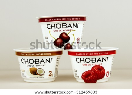 RIVER FALLS,WISCONSIN-SEPTEMBER 02,2015: Several containers of assorted flavored Chobani greek yogurt.
