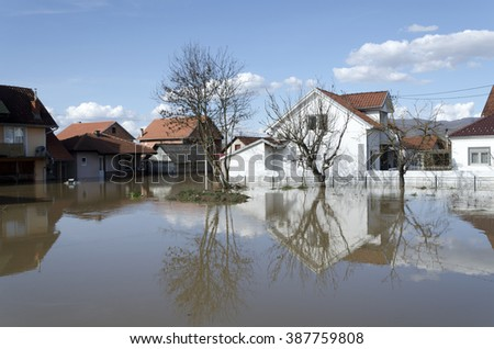 River flood, Serbia Kraljevo Zapadna Morava 2016 - stock photo