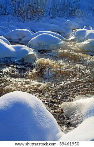 river flow amongst ice