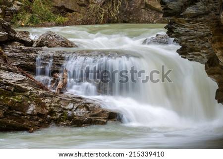 River flow at Johnson canyon Canada - stock photo