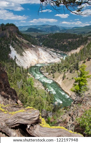 River flow yellowstone national park - stock photo