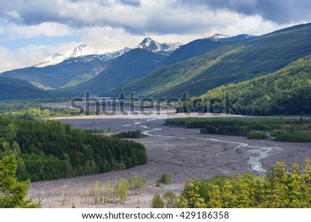 River flowing from Mount St. Helens in Washington, USA - stock photo