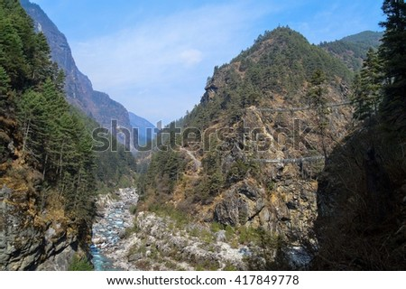 River flowing through the Himalayan mountains, Nepal - stock photo