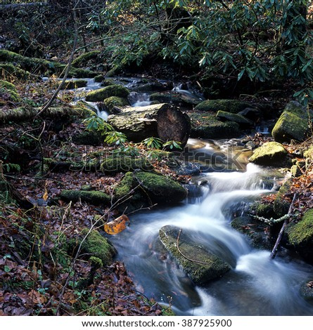 River flows in the Appalachian Mountains - stock photo
