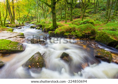 River Fowey at Golitha Falls nature reserve on the edge of Bodmin Moor Cornwall England UK Europe - stock photo