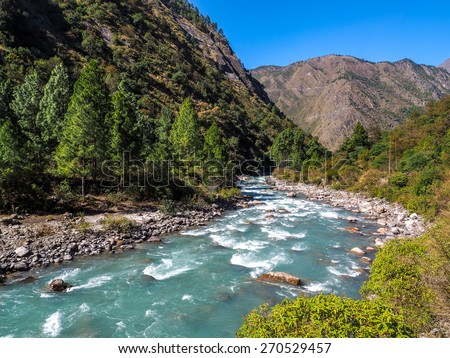 river from Langtang trek in nepal