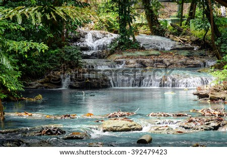 River from Saluopa Waterfall in Tentena. Central Sulawesi. Indonesia