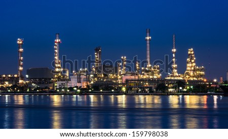 River front Oil refinery at twilight time