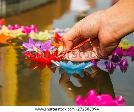 river goddess worship ceremony is tradition of Thailand