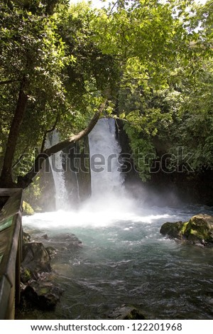 River Hermon ,Banias Nature Reserve in northern Israel - stock photo