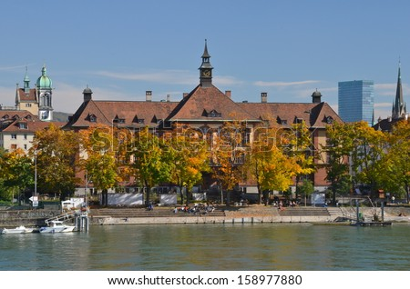 River House on the Rhine in Basel, Switzerland - stock photo