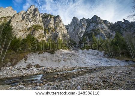 river in Alps - National park Kalkalpen - stock photo