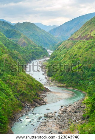 River in Cordillera mountains, Philippines - stock photo