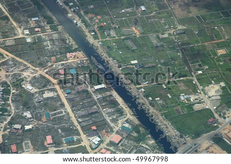 River in lagos nigeria country side aerial view - stock photo