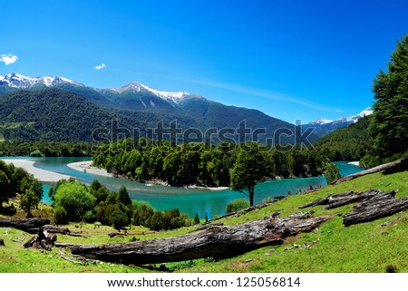 River in Patagonia, El Pangue, Chile, South America - stock photo