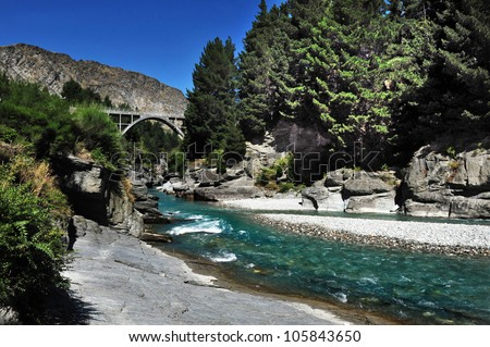 River in Queenstown, south New Zealand. - stock photo