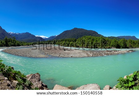 River in Queulat National Park, Aysen, Patagonia, Chile, South America - stock photo